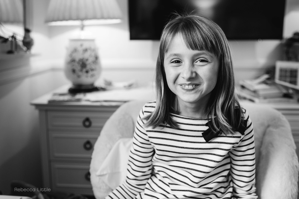 San Marino family photos black ans white images of girl in her bedroom Rebecca Little Photography