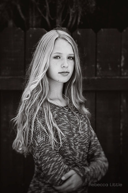 Teen girl black and white photo for high school application Pasadena Rebecca Little Photography