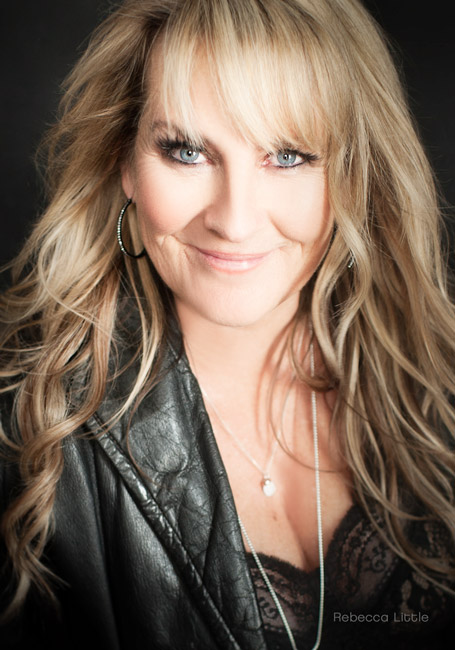 50 and fabulous blonde with leather jacket Pasadena CA Green Street Rebecca Little Photography