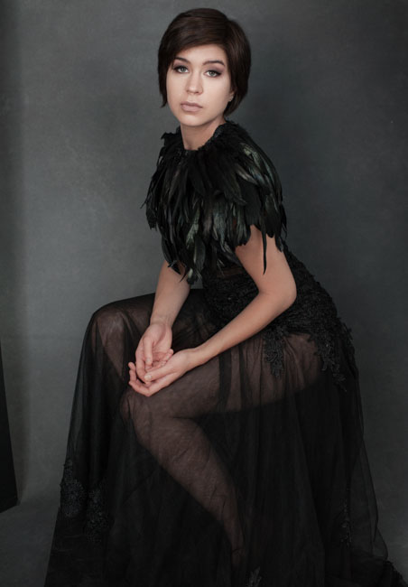 Fashion photos with black feather collar alternative portraits for women in Los Angeles artists and actors Rebecca Little Photography