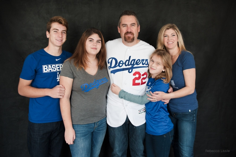 29f87859 Family weraing LA Dodgers clothing for the family Christmas card Rebecca  Little Photography Pasadena CA